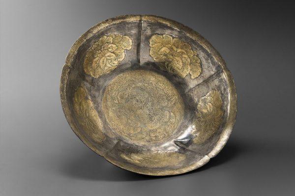 Parcel gilt silver lobed bowl